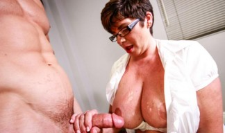 busty milf gets her tits jizzed on