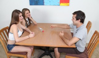 two teen babes and a guy play strip truth or dare game