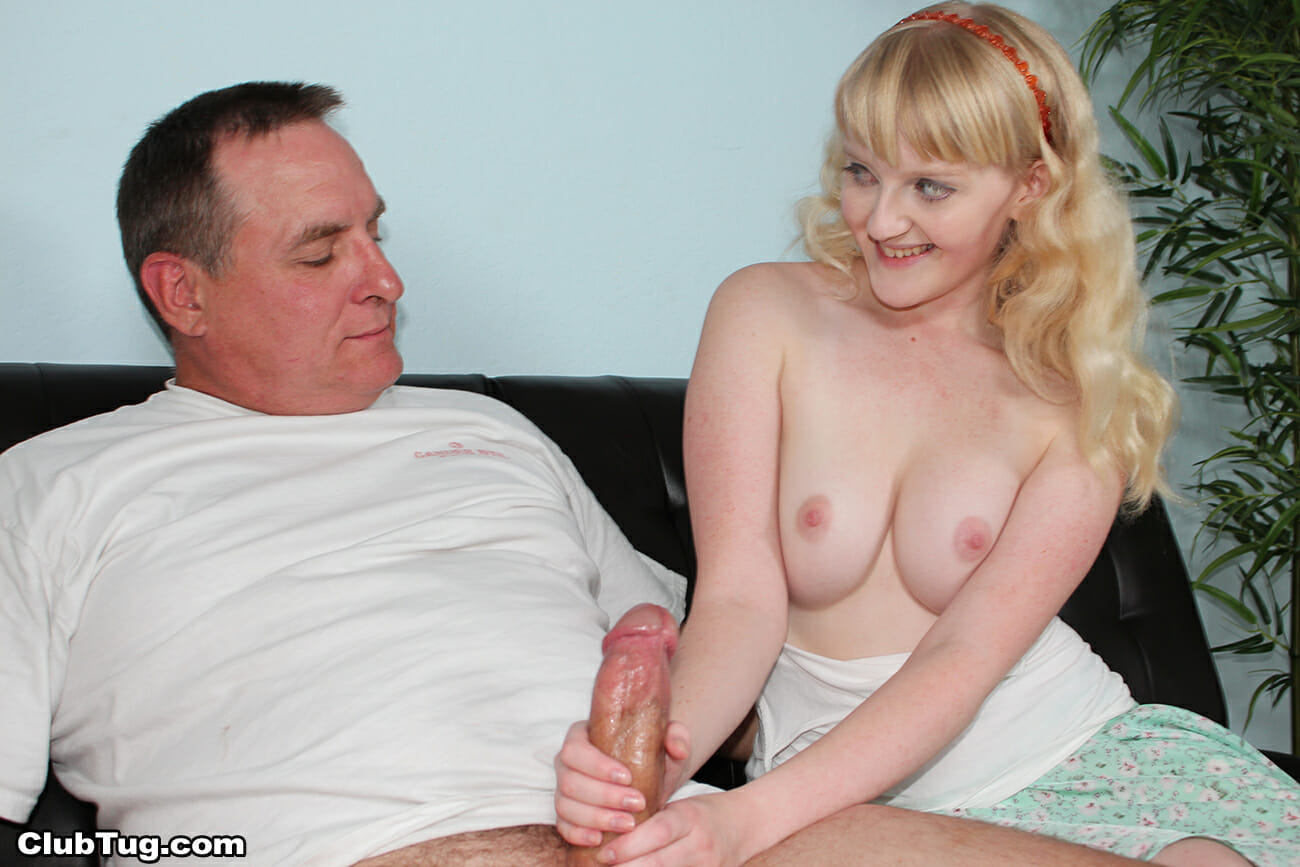 Daughter giving daddy handjob