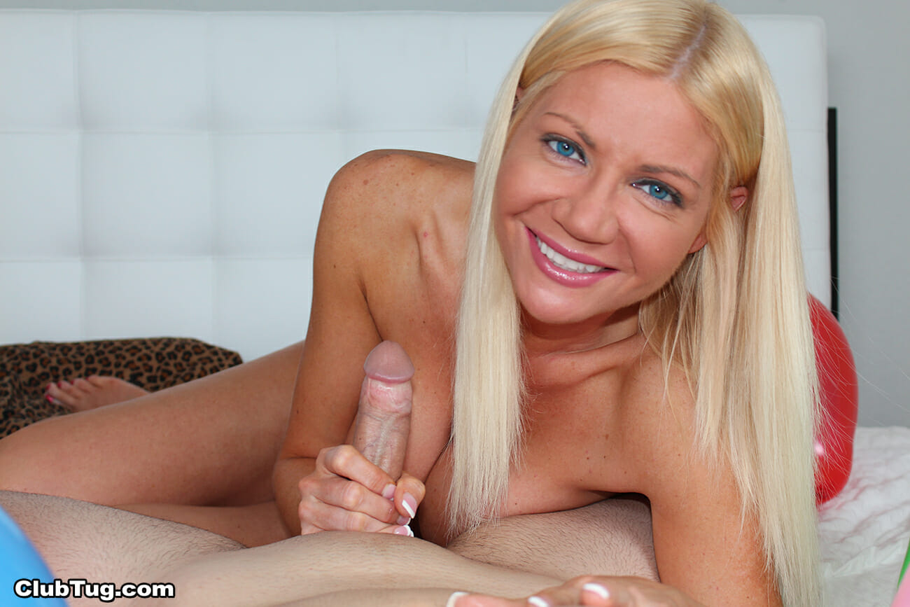 Amateur blond teases and sucks cock