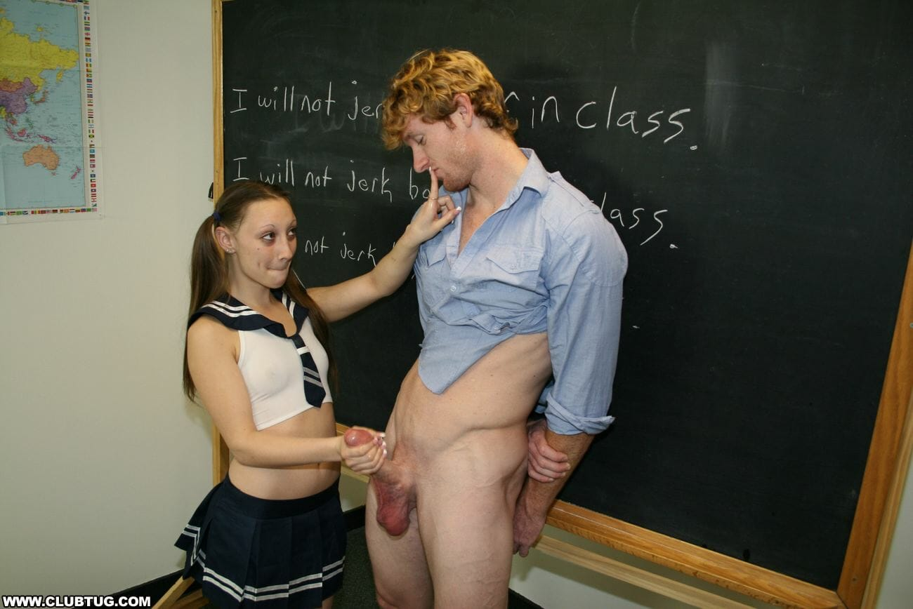 Brandi is in trouble at school for jerking off guys in class but that  doesn't stop her from taking a time out to tug another guy's dick in the  midst of her ...