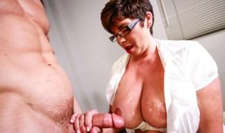 busty milf gets her tits jizzed on