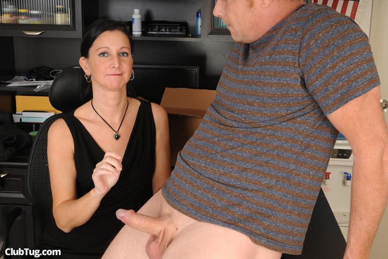 Sexy office lady takes handjob and jerk