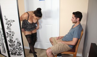 Stacie Starr strips while her stepson watches