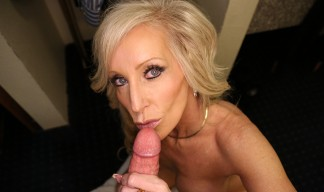 Tiffany Lebroc jerks her step son's cock