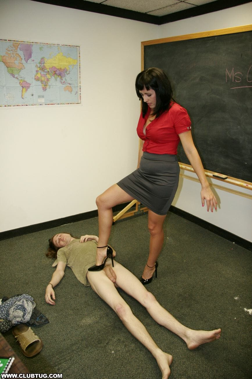 horny teacher giving a student a handjob