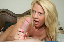 Blonde Milf Grace Jacking Off Big Cock Until It Spurts On Her Face And Big Boobs - Picture 8