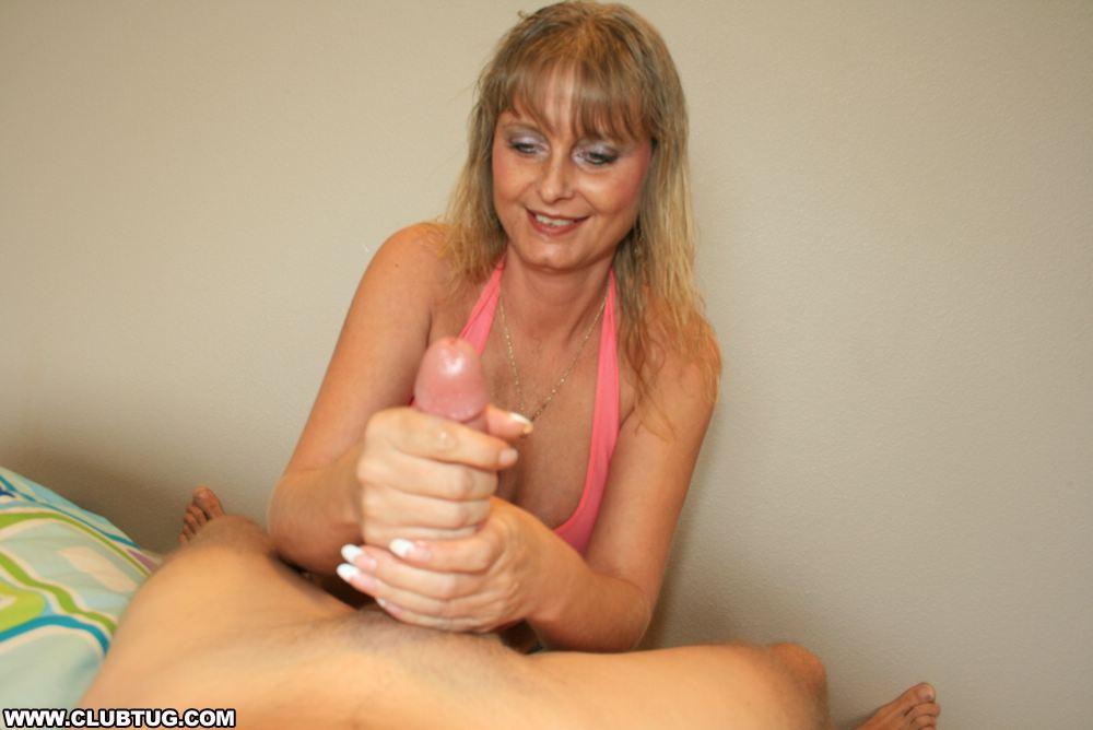 Amateur blonde jerks off her man - 3 part 9