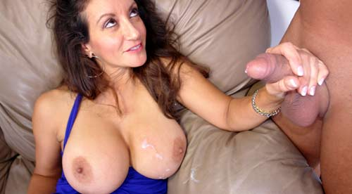 Mom big handjob cum tits