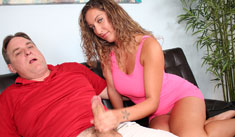 1 Handjob Movies - Hottie babe jerking off her uncle till cum exploded