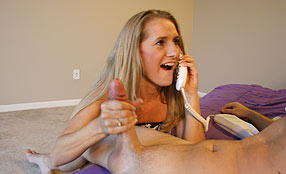 club tug mom talks on phone while stroking